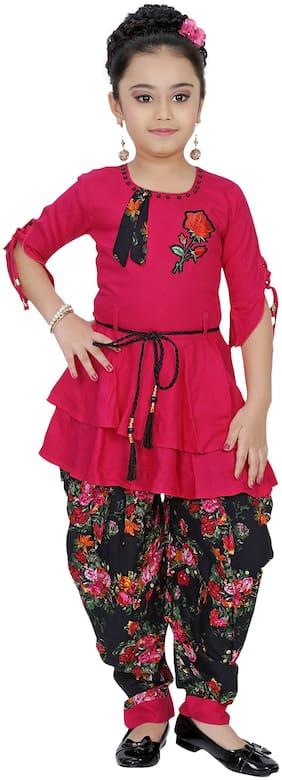 Arshia Fashions Girl's Viscose rayon Embellished 3/4th sleeves Kurti & salwar set - Pink & Black