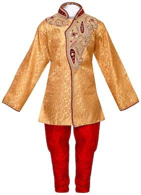 Arshia Fashion Boy Blended Solid Kurta pyjama set - Gold