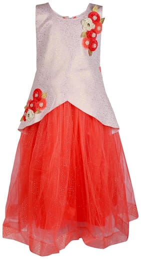 Arshia Fashion Net Solid Frock - Red