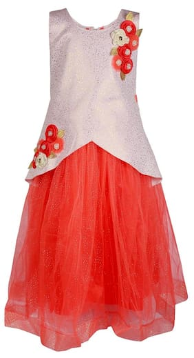 Arshia Fashions Girls Party Wear Frock Scuba Dress Ball Gown