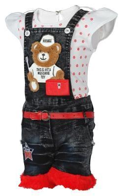 Arshia Fashion Cotton Solid Dungaree For Girl - Black