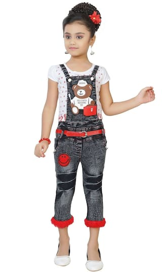 Arshia Fashion Denim Printed Dungaree For Girl - Multi