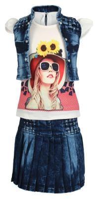 Arshia Fashions Girls Partywear Skirt Top with Denim Jacket - sleeveless GR274