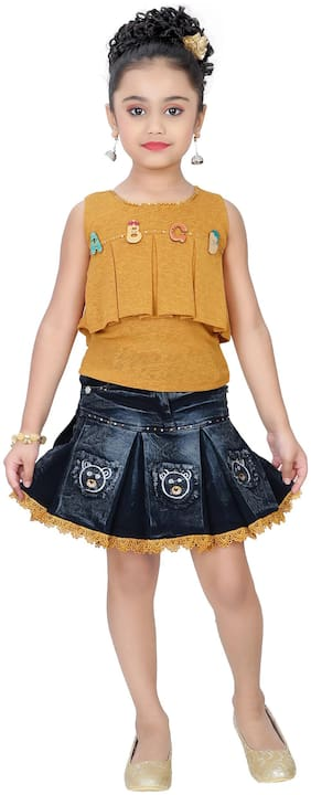 Arshia Fashion Girl Denim Top & Bottom Set - Yellow