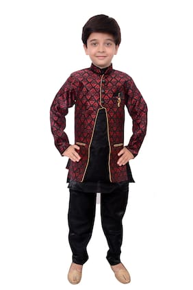 Arshia Fashion Boy Blended Printed Kurta pyjama set - Black