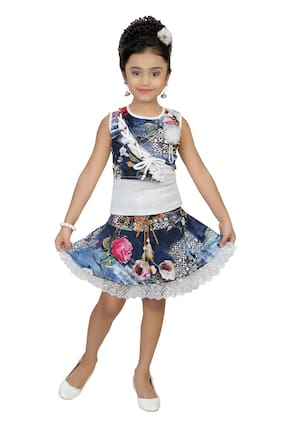 Arshia Fashions Girls Partywear Skirt & Top Set