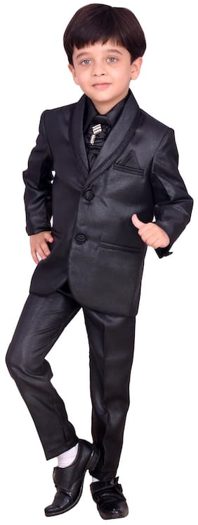 Arshia Fashions Black Stylish Party Shirt Pant Coat With Tie For Boys