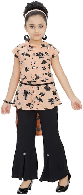 Arshia Fashions Girl Blended Top & Bottom Set - Orange & Black