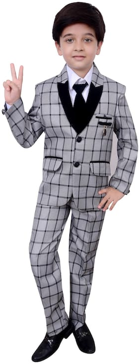Arshia Fashions Boys Coat Suit with Shirt Pant and Tie set - Pruple - Party Wear - BY189