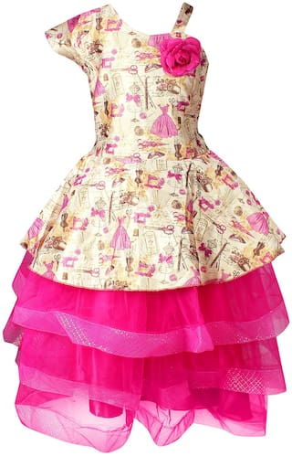 Arshia Fashion Net Solid Frock - Pink