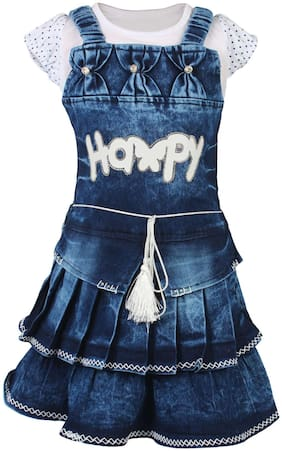 Arshia Fashions Girls Partywear Top and Denim Frock Set