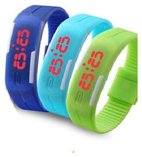 Aryshaa Digital Watch Slim Digital LED Band Kid's Watch Assorted Colours (Pack of 3)