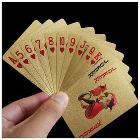 Aryshaa Golden Colour Poker Playing Cards (Golden )pack of 4.