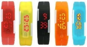 Aryshaa Silicon Designer Watch For Kids Assorted Colors (Pack of 5)