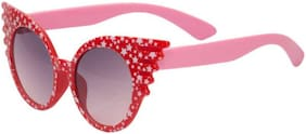 Ascend Store   Cute Cat-Eye Sunglasses for Kids with Star Printed Frame (Red)