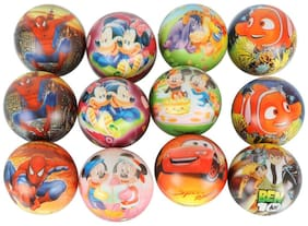 Asera 12 pcs Soft Foam Sponge balls with cartoon Prints Light Weight- Kids Birthday Return Gifts