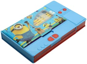 Asera Blue Minion Jumbo Pencil Box for Boys with 3 Pencils and Key Chain