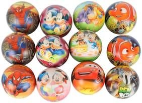 Asera Colorful Soft Foam Sponge Balls with Cartoon Prints Light Weight 12 pcs for Kids