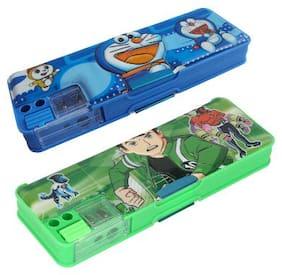 ASERA Doraemon & Ben10 Pencil Box Birthday Return Gift For Kids (Pack of 2 Pieces)