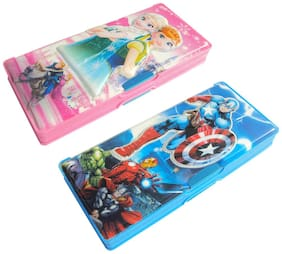 ASERA Frozen and Avengers Character Pencil Box Birthday Return Gift for Kids (Pack of 2 Pieces)