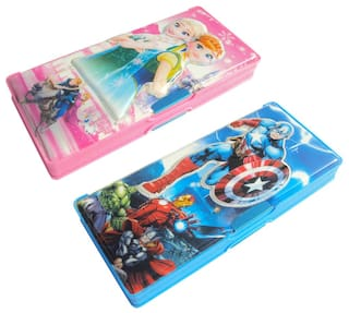 ASERA Frozen And Avengers Character Pencil Box Birthday Return Gift For Kids Pack Of 2