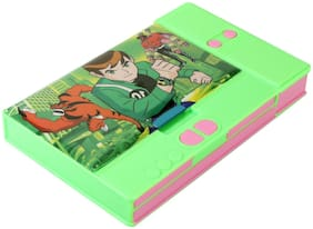 Asera Green Ben10 Jumbo Pencil Box for Kids - Multiple Compartments