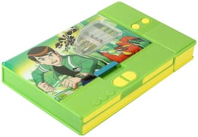 Asera Green Ben10 Jumbo Pencil Box for Boys with 3 Pencils and Key Chain