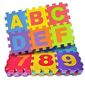 Asera Made in India Mini Puzzle 36 Pieces Foam Mat for Kids;Learning Alphabet and Number Mat for Kids Birthday Gifts