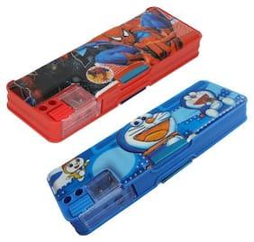ASERA Spiderman & Doraemon Pencil Box Birthday Return Gift For Kids (Pack of 2 Pieces)