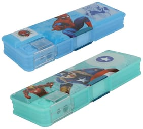 ASERA Spiderman and Avengers Character Pencil Box Birthday Return Gift for Kids (Pack of 2 pcs)