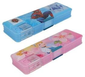 ASERA Spiderman and Princess Character Pencil Box Birthday Return Gift for Kids (Pack of 2 pcs)