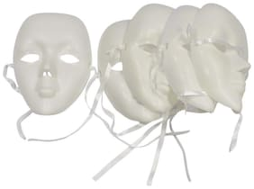 AsianHobbyCrafts Plain white Plastic Party Mask: Set of 5 : for Theme Party, Masquerade, Fancy Wear