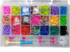 Assemble 4200 Rainbow loom band Craft Kit + METAL HOOK ()