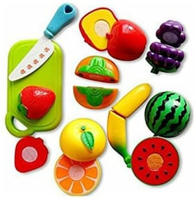 Assemble Sliceable Fruits Cutting Play Toy Set with Velcro - Pretend Play Educational Toysfor Kids and Children 9pc
