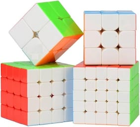 Assemble Speed Cube Bundle 2x2 3x3 4x4 5x5 Stickerless Bright Magic Cube Cubing Classroom Smooth Puzzles Cube Set with Gift Packing (4 pcs) (4 pcs)