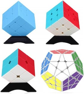 Assemble Speed Cube Bundle [4 Pack] Megaminx Mirror 2x2 3x3 Stickerless Cube Puzzle Collection for Kids (Colorful) (4 Pieces)