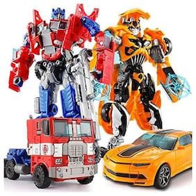 Assemble Transformers Optimus Prime Bumble Bee Classic Kids Action Figure Funny Toy Pack of 2 (Combo)