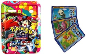 Authfort GO EVOLUTION Trading card Game With Metal Tin Box With 3 VIP Cards (Multicolor)