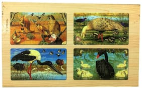 Authfort Wooden animal puzzle Picture 4 pcs  (Multicolor)