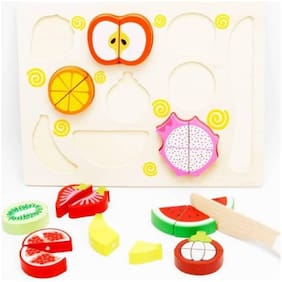 AUTHFORT Wooden 11pcs Magnetic Sliceable Cutting Fruits Kitchen Set Toy With Wooden Chopping Board and Knife ()