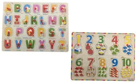 Authfort Wooden ABCD & 1234 Learning Toys for Kids early learning Toys  (Multicolor)