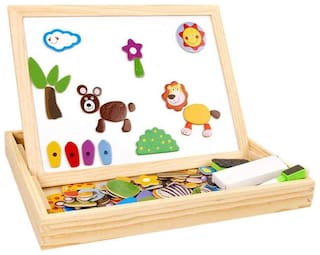 Authfort Wooden Educational Toys Magnetic Art Easel Animals Wooden Puzzles Games for Kids 02  (Multicolor)