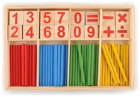 Authfort Wooden Number Sticks Montessori Number Cards and Counting Rods with Box Mathematics Material Educational Toy for Kid Children Toddlers  (Multicolor)