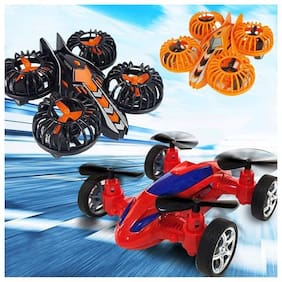 Shanaya Automatic Blades Moveable Friction Powered Quadcopter Flycar Toy for Kids