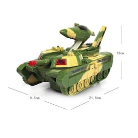 Automatic Convertible Tank & Jet Fighter Airplane Toy with Lights and Shooting Music for Kids