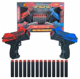AV INT  Foam Bullets Pull Back 2 Action Gun with 14 Piece Darts  (Multicolor)