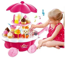 AV INT Ice Cream Kitchen Play Cart Kitchen Set Toy with Lights and Music, Yellow