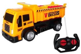 av int IndusBay Remote Control Dump Truck RC Construction Dumper Toy with Plastic Construction Block  (Yellow)