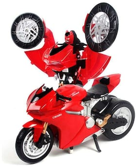 AV INT RC Rechargeable Transformers MZ Ducati One Button Transforming Autobot Bike, Red