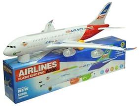 AV INT White Plastic Musical Aeroplane
